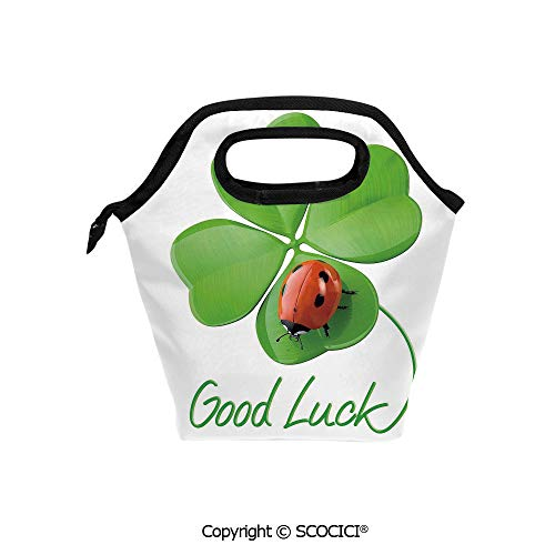 Reusable Insulated Lunch Bags with Pocket Lucky Symbols Four Leaf Clover with Ladybug Irish Charm for Adults Kids Boys Girls.
