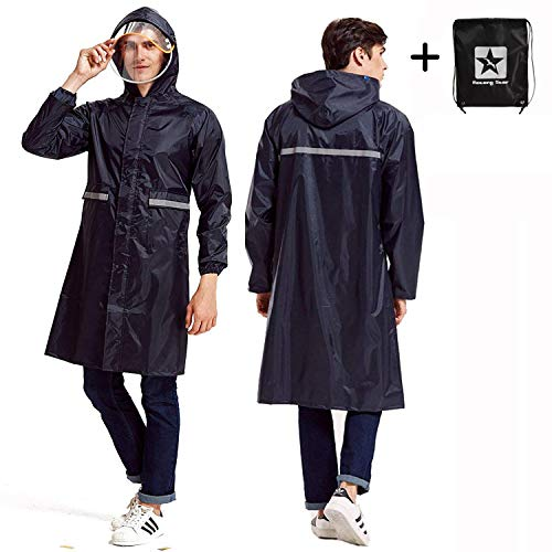 Aoteng Star Rain Poncho Long Reflective Waterproof Raincoat Hood Men Adult