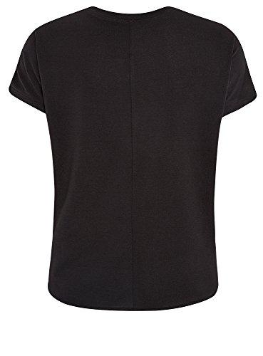 oodji Collection Mujer Camiseta de Silueta Recta con Acabado Decorativo Beige (3329A)