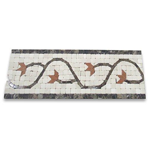(Edera Sienna 4x11 Marble Mosaic Border Tumbled)