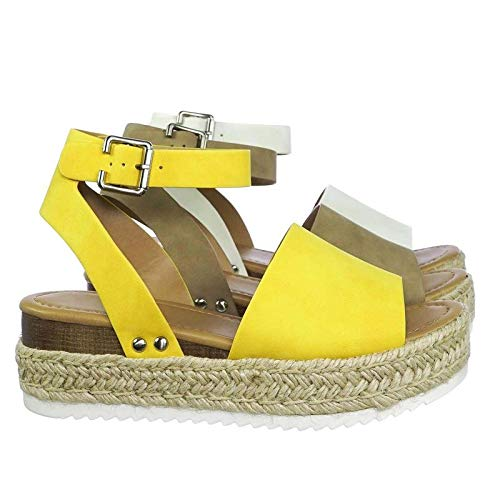 SODA JDTopic Women's Open Toe Ankle Strap Espadrille Sandal (7.5 M US, Yellow) (Platform Shoes Yellow)