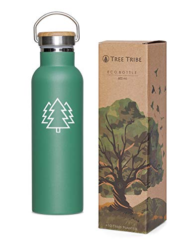 Tree Tribe Stainless Steel Water Bottle 20 oz - Indestructible, BPA Free, 100% Leak Proof, Double Wall Insulated for Hot and Cold, Wide Mouth - Green Trees