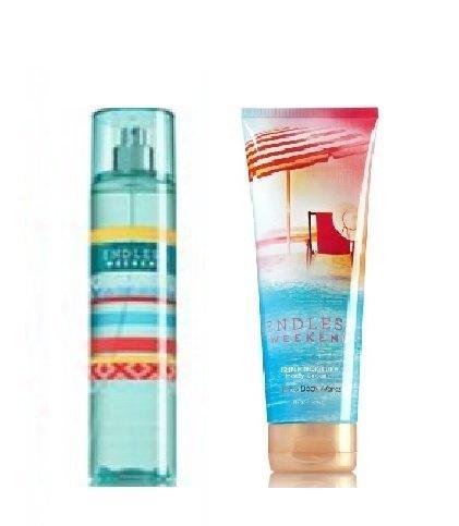 Bath & Body Works -Signature Collection- Endless Weekend - Fine Fragrance Mist 8 Fl Oz & Triple Moisture Body Cream 8 Fl Oz ()