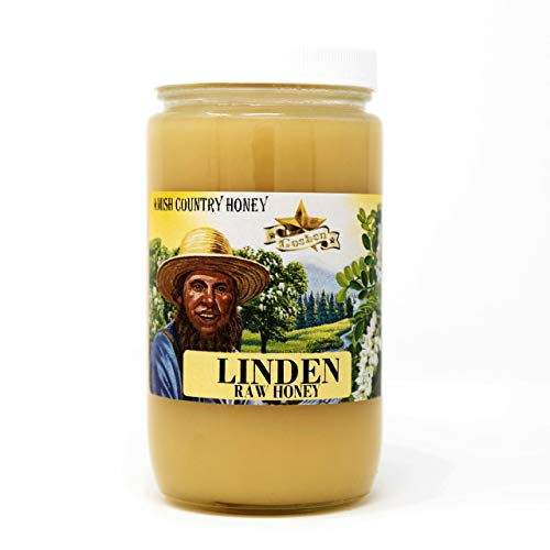 Goshen Honey Amish Extremely Raw LINDEN Honey 100% Natural Domestic Honey with Health Benefits Unfiltered Unprocessed Unheated OU Kosher Certified | 1 Lb Glass Jar