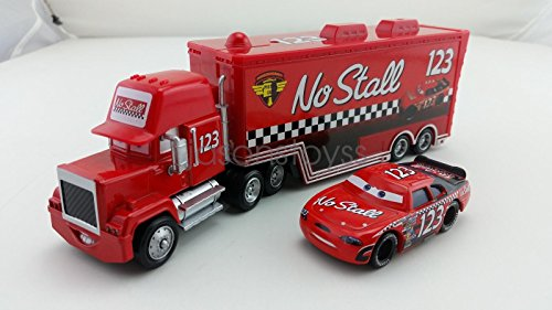 Car Toys Pixar 1:55 Scale Diecast No.123 Mack Racer's Truck & No Stall Metal Toy and Car Collectors - Stall Holder Costume