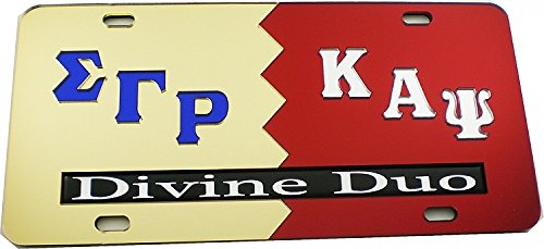 Cultural Exchange Sigma Gamma Rho + Kappa Alpha Psi Divine Duo Split License Plate [Gold/Red - Car/Truck]