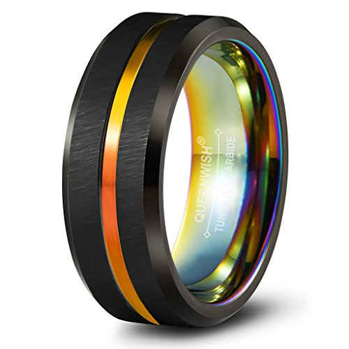Men Two Tone Tungsten Wedding Bands 8mm Rainbow Black Brushed Couple Promise Rings Beveled Edges 11
