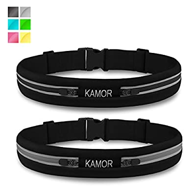 "[2 Pack] Kamor® superior water resistant Running Belts / Runners Belt / Race Belt with 4CM high elastics and 3M reflective strip - Adjustable Band Fits 27"" - 39""(70cm-100cm) Waists Comfortably - Two wide expandable pockets best to bring your smartphone"