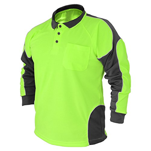 BIG BEE 2Pack Hi Vis Polo Shirt Arm Panel with Piing Fluoro Work wear Cool Dry Long Sleeve ()