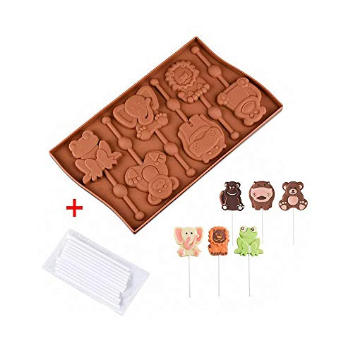 Animals Lollipop Mold with 20Pcs Sticks - MoldFun Frog Elephant Lion Hippo Monkey Bear Silicone Chocolate Candy Gummy Mold for Kids/Children