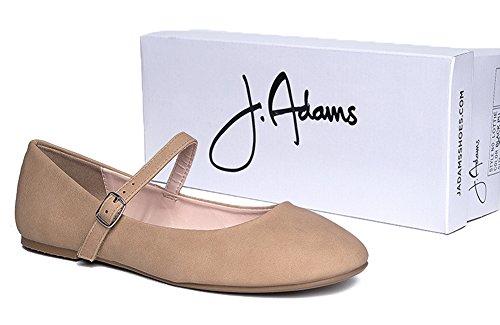 J. Adams Mary Jane Ballett Flat - Vattert Komfort Uformell Sko - Enkel Hverdags Borrelås Slip On - Lottie Av Tan Vest Pu