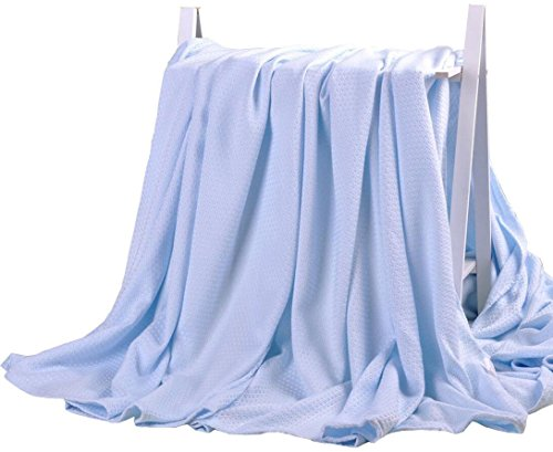 DANGTOP Air Conditioning Cool Blanket with Bamboo Microfiber- Summer Thin Quilt Lightweight for Adults and Teens(79''X91'',Large Blue). by DANGTOP