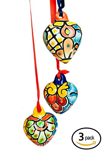 rt Ornaments Set- 3 Different Hand Painted Ceramic Hearts with Ribbon ()