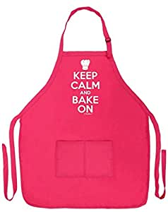 Keep Calm and Bake On Funny Apron for Kitchen Baker Baking Two Pocket Apron for Women and Men Heliconia