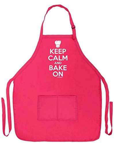 ThisWear Keep Calm Bake On Funny Apron Kitchen Baker Baking Two Pocket Apron Women Men Heliconia
