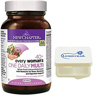 New Chapter Every Woman's One Daily 40+, Women's Multivitamin with Probiotics, Vitamin D3, B Vitamins - 48 Tablets Bundle with a Lumintrail Pill Case ()