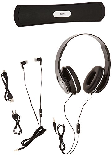 Coby CMB-102-BLK Over The Ear Headphones with Built-In Micro