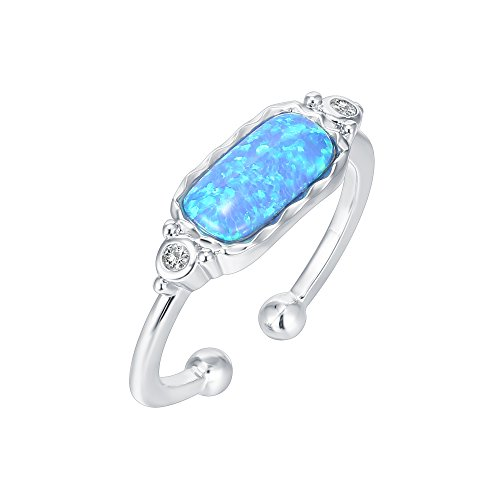 PAVOI 14K White Gold Plated Stacking Cubic Zirconia and Created Blue Opal Stackable Ring