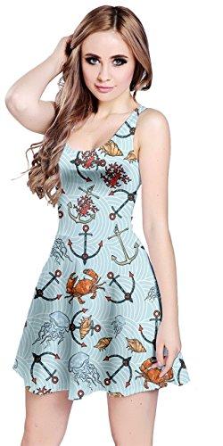 CowCow Womens Sea Animals Anchor Sleeveless Dress, Blue - S