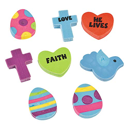 (Fun Express - He Lives Mini Eraser AST for Easter - Stationery - Pencil Accessories - Erasers - Easter - 144 Pieces)