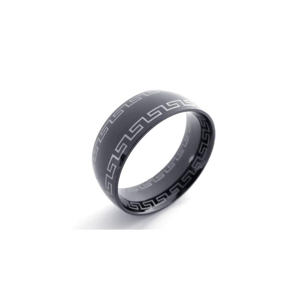 Pr620827 R&d Stainless Steel Ring Mens Greek Key Black Size 11