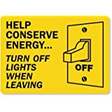 "Help Conserve Energy... Turn Off Lights When Leaving (with, Adhesive Signs and Labels, 5"" x 3.5"""