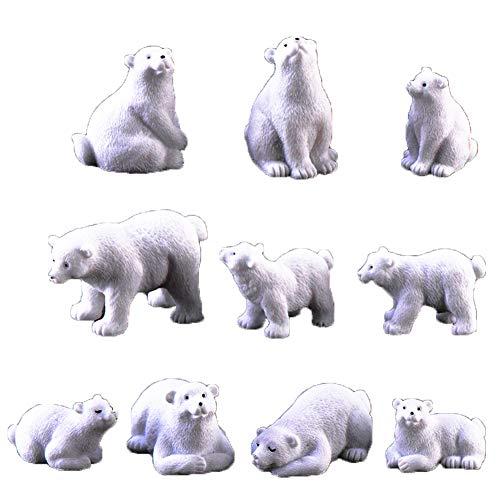 10Pcs Polar Bear Figurine Resin Animal Statue Miniature Landscape Bonsai Ornament Resin Crafts (Ornament Polar Bear Craft)