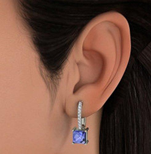 Or blanc 14K 0,2CT TW Round-cut-diamond (IJ | SI) et tanzanite Boucles d'oreilles pendantes
