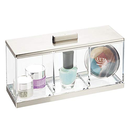 mDesign Plastic Makeup Organizer Storage Canister Box with 3 Sections and Lid for Bathroom Vanity Countertops - Holder for Cotton Balls, Swabs, Rounds, Lipstick - Clear/Brushed