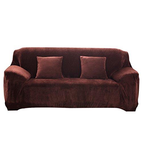 vanpower Thicken Plush Sofa Cover Solid Colour Slipcover Sof