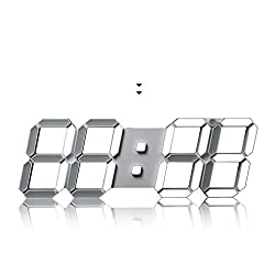 Modern Fashion 15.3 Large LED Digital Wall Clock - 3D Led Desk Clock / Alarm Clock (While)