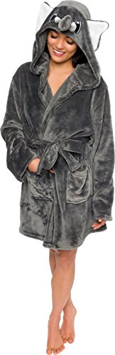 Le Top Hooded Robe (Silver Lilly Women's Animal Hooded Robe - Plush Short Elephant Bathrobe (Grey/White, XL))
