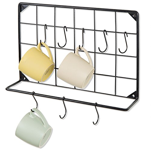 MyGift Wall-Mounted Coffee Mug & Utensil Hanging Rack with 8 S-Hooks by MyGift