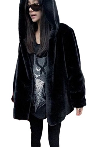 Outcoat Fur Jacket Black Mujer Zip Warm Hoodie Faux Casual Winter La Peluda q6R4Tx