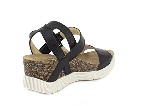 Mousse London Black WINK196FLY Women's Fly Wedge Sandal YPdCqqx