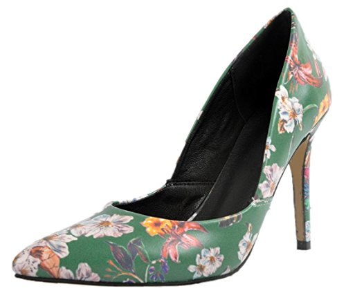 YCMDM Women's Sandals Stiletto Heel PU Floral pointed high heels Nightclub Party Evening Office Career Fashion Shoes , 34 , color