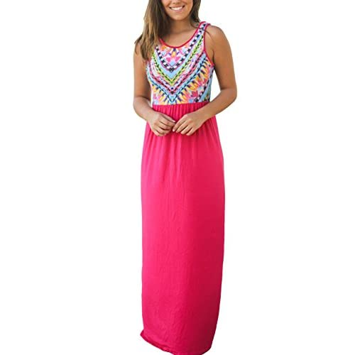 Ecrocoo Womens Casual Sleeveless Beach Boho Maxi Long Dress(6Clours S-XL) hot sale