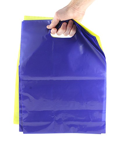 100 Plastic Shopping Merchandise Bags with Die Cut Handles - Heavy Duty Retail Bags - 2 Glossy Colors 50 Blue and 50 Yellow - 12.5