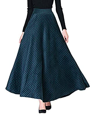 Chartou Women's Classy Plaid High Waist Ankle-Length A-Line Flared Winter Wool Blend Maxi Swing Skirt