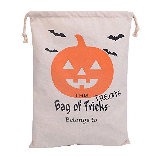 Delifur Halloween Pumpkin Candy Bags Trick or Treat Drawstring Sacks Bundle Pocket Bag for Kids (1)