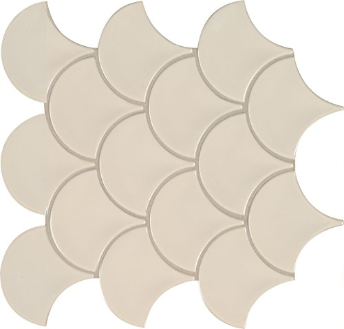 MS International NALMFISG Almond Glossy Fish Scale Porcelain Mesh-Mounted Mosaic Tile 10.74 in. x 10.2 in. x 10 mm, (12.94 sq. (International Porcelain)