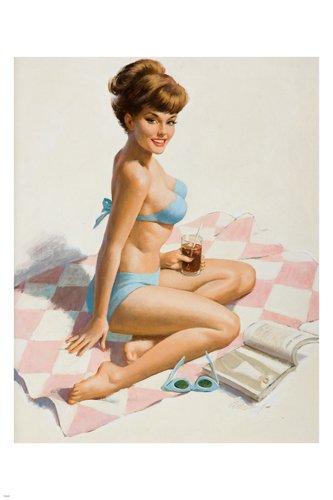 PIN-UP GIRL at the beach SEXY LOOK poster 24X36 blonde BIKINI HOT BODY rare