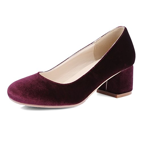 BalaMasa Womens Chunky Heels Low-Cut Uppers Pull-On Suede Pumps-Shoes Claret fUw9nbynl