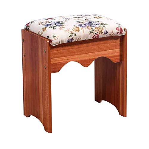 KSDGQ Stool Footstool Sofa Stool Living Room Pastoral Soft Cloth Bag Stool Changing His Shoes Stool Vanity Stool Manicure (Color : Beige Flannel, Size : White)