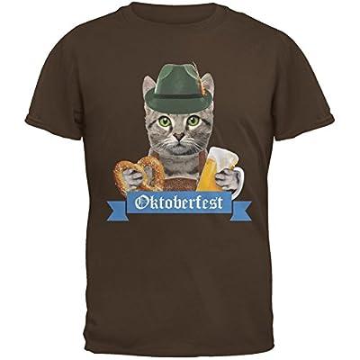 Oktoberfest Funny Cat Brown Adult T-Shirt