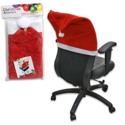 Christmas Selections 23.5 by 19 Inch Polyester Santa Hat Chair Cover with Bell by Christmas Selections