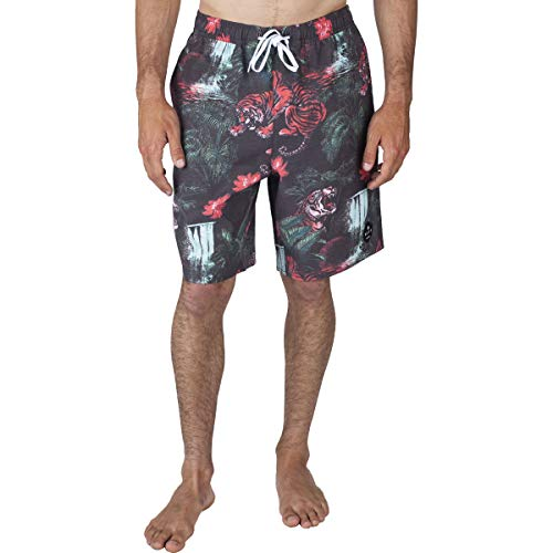 NEFF Men's Vintage Daily Hot Tub Boardshorts,Large,Tropic Tiger