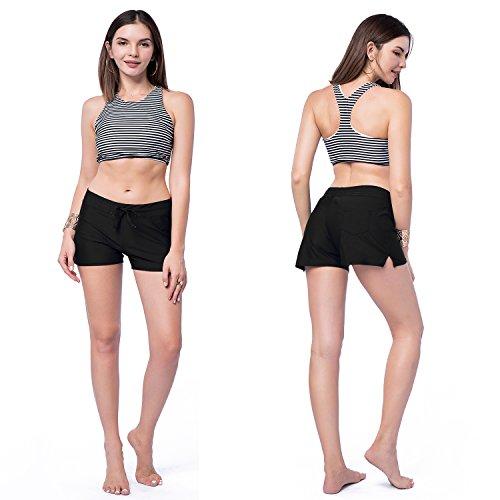 CFR Women's Wide Waistband Bikini Shorts Swimsuit Bottom Swimming Pants Beachwear with Adjustable Ties Black,XL UPS Post by CFR (Image #5)'
