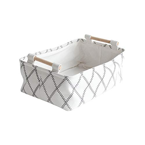 CutieUnion Decorative Collapsible Rectangular Fabric Storage Bin Organizer Basket with Wooden Handles for Clothes and Toy Storage(12.6x8.7x4.7 -