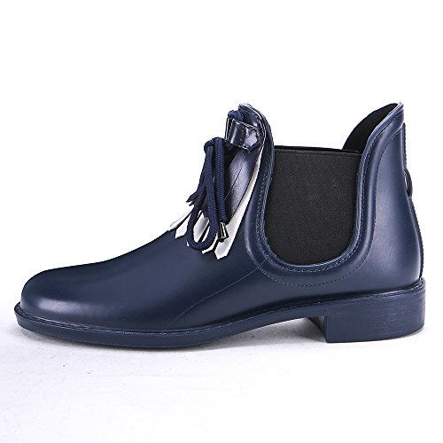 Tongpu Donna Elegante Nappa Impermeabile Ankle Rain Boots Navy